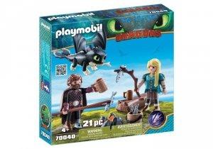 Playmobil Figurki Jak wytresować smoka - Czkawka i Astrid z małym smokiem