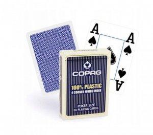 Cartamundi Karty Pokera 100, Plastik PKJ4. Talia niebieska, duży index w 4 rogach