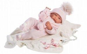 Lalka bobas Tina 43 cm różowe śpioszki