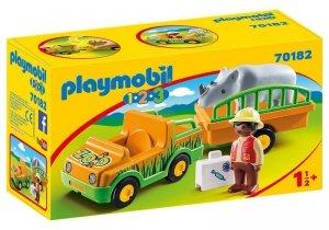 Playmobil Zestaw figurek 123 Pojazd do transportu nosorożca