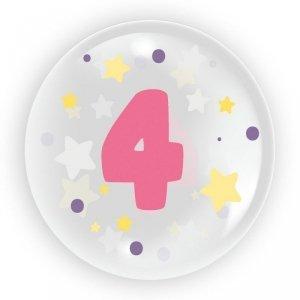 TUBAN Balon 45 cm - Cyfra 4 dla dziewczynki 6 sztuk