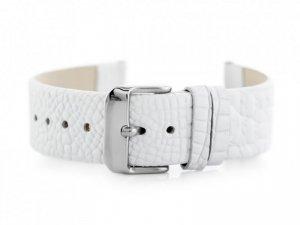 Pasek skórzany do zegarka W57 - biały - 18mm