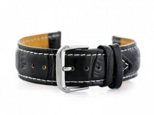 Pasek skórzany do zegarka W102L czarny/biały - 24mm