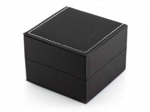 Prezentowe pudełko na zegarek - eko czarne przeszywane matowe