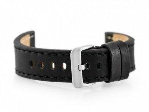 Pasek skórzany do zegarka W48 - PREMIUM - czarny/czarne - 22mm