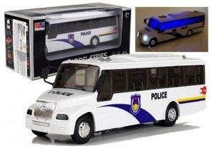 Model Autobusu Bus Policyjny Świeci Biały