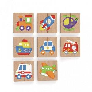 Układanka drewniana puzzle magnetyczne - pojazdy - Viga Toys