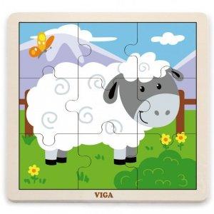 VIGA Poręczne Drewniane Puzzle Owieczka 9 elementów