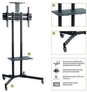 Sunne Floor stand, S112 multifunctional Mobile TV cart, 37-70 , Tilt, Black