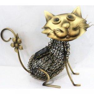 Lampa solarna LED figurka ogrodowa Kotek