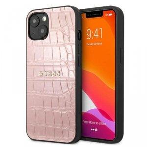 Guess Croco Stamp Lines - Etui iPhone 13 mini (różowy)
