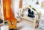 Biurko dziecięce drewniane DOMEK 3 wysokości blatu