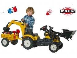 FALK Traktor RANCH Żółty z Przyczepą Koparka lem