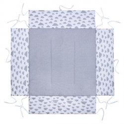 Lulando Kojec 100x100  szary w groszki  białe+biały w szare chmurki