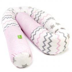 Lulando Wałek do łóżeczka -zygzaki różowo-szare/gwiazdki szare /kropki na różwym