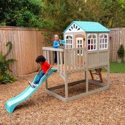 Drewniany Domek Ogrodowy KidKraft dla Dzieci ze Zjeżdżalnią  Highline Retreat