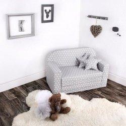 Lulando sofa classic gwiazdki białe na szarym tle
