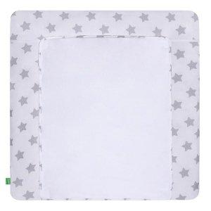 LULANDO Mata na przewijak 2 frotty 76x76 cm - Gwiazdki szare na białym