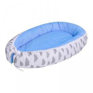 LULANDO Kokon dla dziecka - Niebieski w białe groszki + Biały w szare chmurki