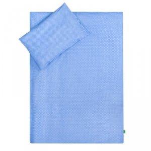 LULANDO Zestaw pościeli 40x60/100x135 cm - Niebieski w biale groszki + Chmurki szare na białym