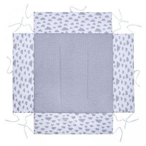 LULANDO Mata do kojca 100x100 cm - Szary w groszki białe + Biały w szare chmurki