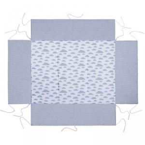 LULANDO Mata do kojca 75x100 cm - Szary w groszki białe + Biały w szare chmurki