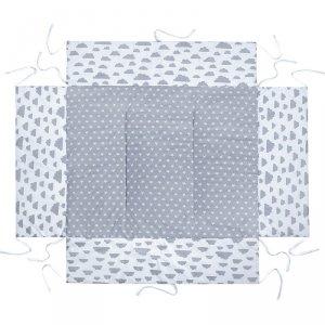 LULANDO Mata do kojca 75x100 cm - Szary w białe gwiazdki + Biały w szare chmurki