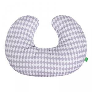LULANDO Poduszka do karmienia rogal dla dzieci 55x42 cm - Biało/Szare Romby