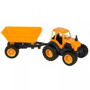 Traktor  z Przyczepą Na Gumowych Kołach Pomarańczowy Mochtoys