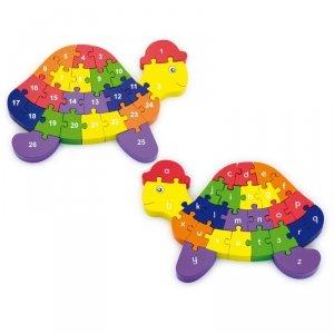 Edukacyjne Puzzle 3D Drewniana Układanka Alfabet Cyferki Żółw Viga