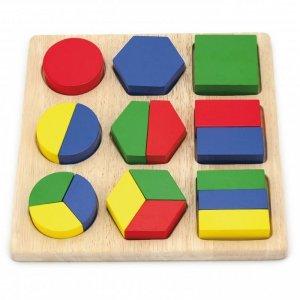 Drewniana układanka Viga Wzory Figury Geometryczne 18 Elementów