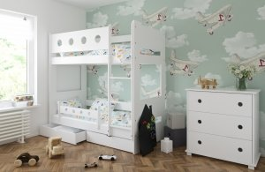 Łóżko piętrowe DOMINIK z dwiema szufladami
