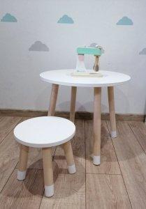 Zestaw stoliczek okrągły i taboret + taboret GRATIS
