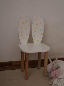 Krzesełko dziecięce KRÓLICZE USZKA kolorowe groszki