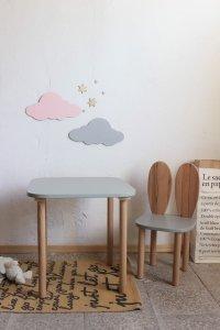 Komplet stoliczek kwadrat + krzesełko KRÓLICZE USZKA B1 różne kolory blatu i siedziska