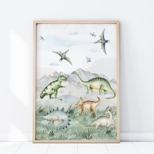 Plakat Dinozaury GRUPA DINOZAURÓW P286