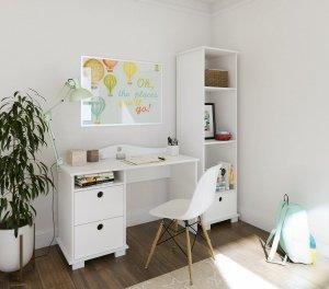 Białe biurko dziecięce LUCKY z dwoma szufladami