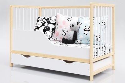 Łóżeczko niemowlęce 2w1 DOMINIK biało-sosna 120x60 z szufladą