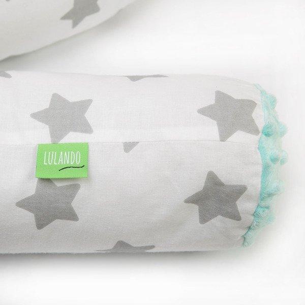 Lulando Wałek do łóżeczka MINKY - szare gwiazdki na białym+mieta