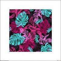 Liście tropikalne - różowe neony - plakat premium