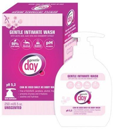 Naturalny, delikatny płyn do higieny intymnej z żelem aloesowym i ekstraktem z żurawiny, 250 ml, Gentle Day