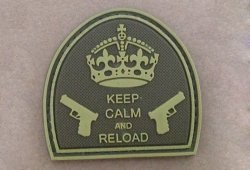 Naszywka - Keep Calm And Reload - Tan