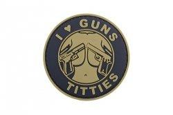 Naszywka 3D - I Love Guns Titties - tan