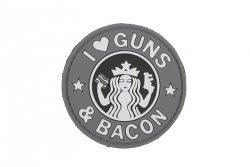 Naszywka 3D - Guns And Bacon - szara