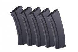 E&L - Zestaw 5 magazynków Mid-Cap na 120 kulek do AK74 - czarny