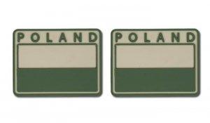 Helikon - Naszywka PVC - Flaga Polska - POLAND - Beżowy - 2szt.