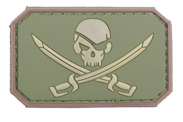 Naszywka 3D – Pirate Skull - olive