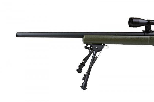 Replika karabinu snajperskiego SW-04 (z lunetą i dwójnogiem) - oliwkowa