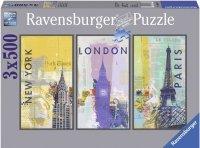 Puzzle 3x500 Ravensburger 163298 Stolice