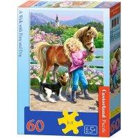 Puzzle 60 Castorland B-06755 Spacer z Kucykiem i Psem